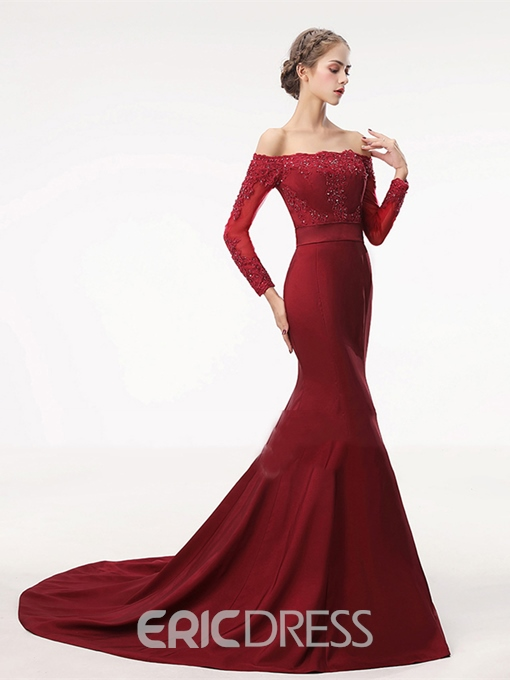 Ericdress Off The Shoulder Mermaid Evening Dress With Long Sleeve