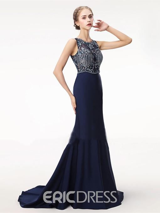Ericdress Scoop Neck Beaded Mermaid Backless Evening Dress