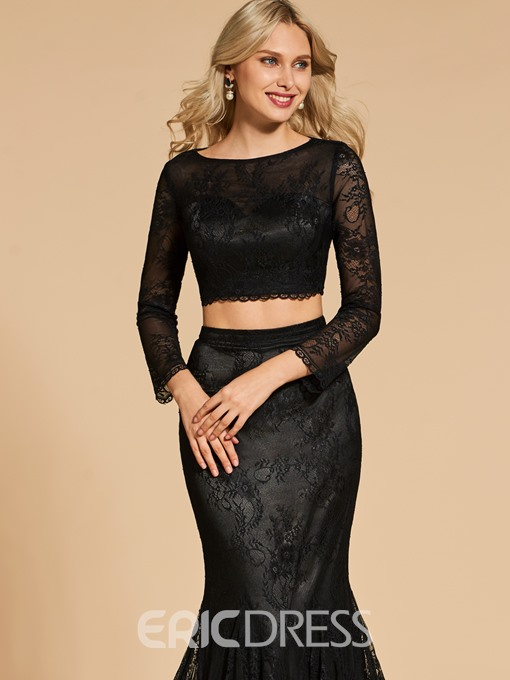 Ericdress Long Sleeve Two Pieces Lace Mermaid Evening Dress