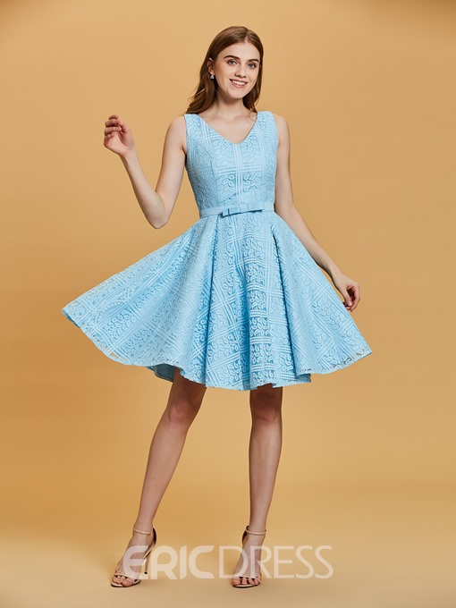 Ericdress V Neck Bowknot A Line Homecoming Dress