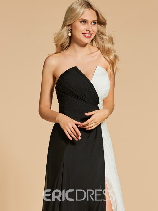 Ericdress A Line Sweetheart Black And White Side Slit Evening Dress