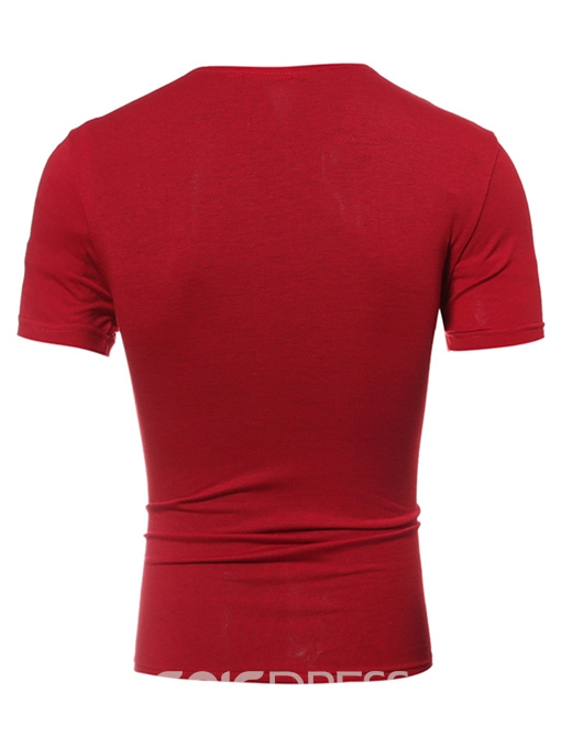 Ericdress Round Neck Short Sleeve PU Patch Men's T-Shirt