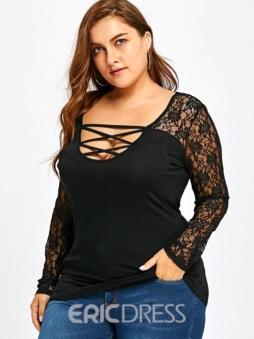 Ericdress Patchwork Lace Floral Plus Size T-Shirt