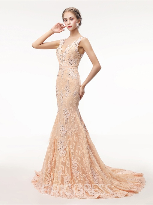 Ericdress V Neck Lace Mermaid Evening Dress With Beadings