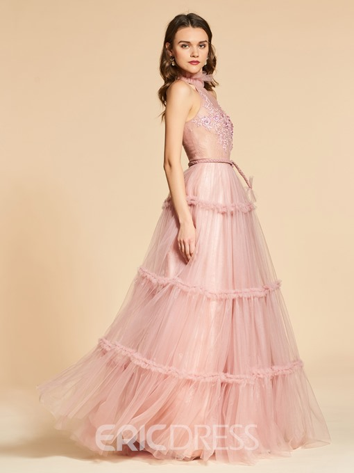 Ericdress A Line Jewel Neck Lace Layered Evening Dress