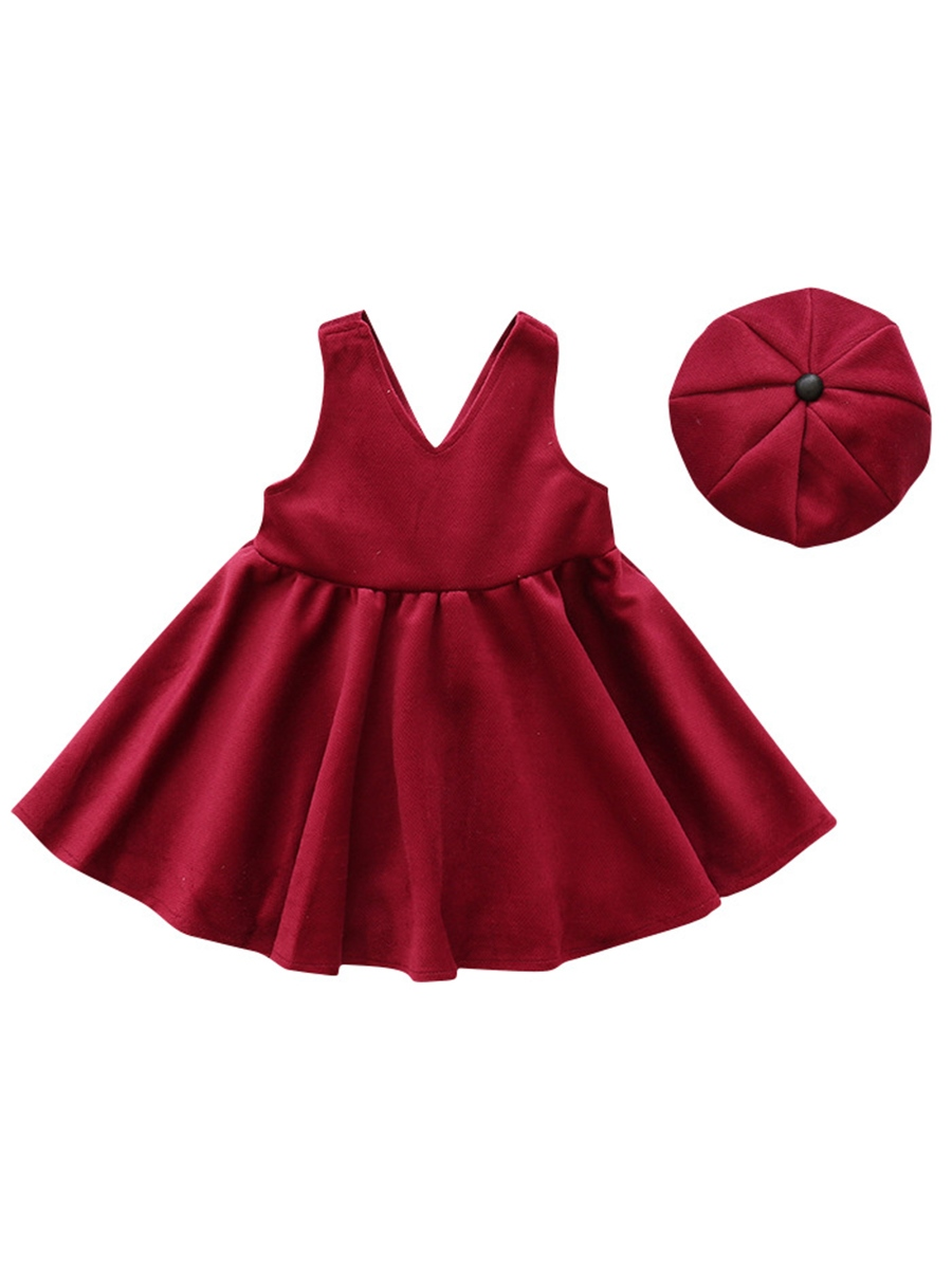 Ericdress Sleeveless Princess Dress with Bud Cap Girls' Outfit