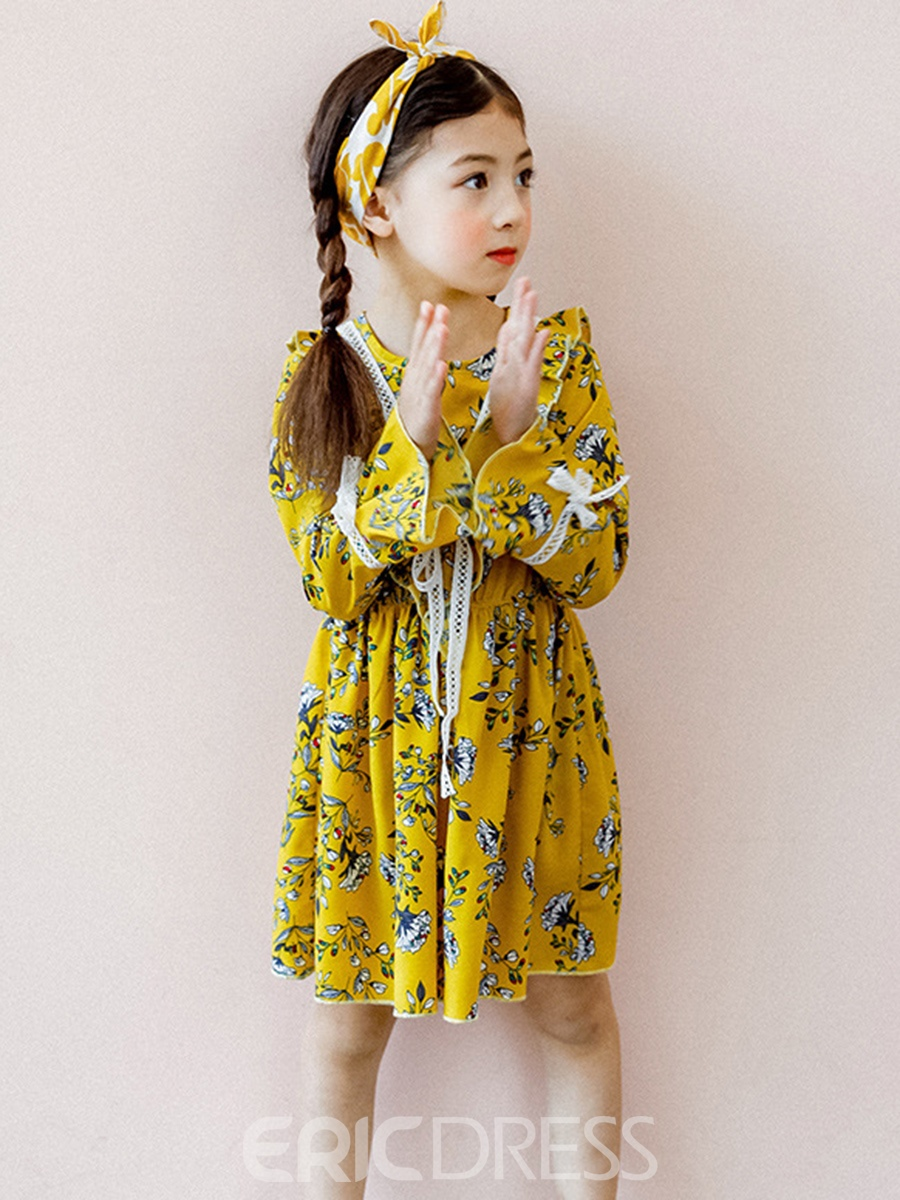 Ericdress Chiffon Floral Print A-Line Girl's Dress