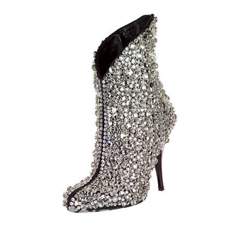 Ericdress Rhinestone Pointed Toe Plain Stiletto Heel Women's Boots