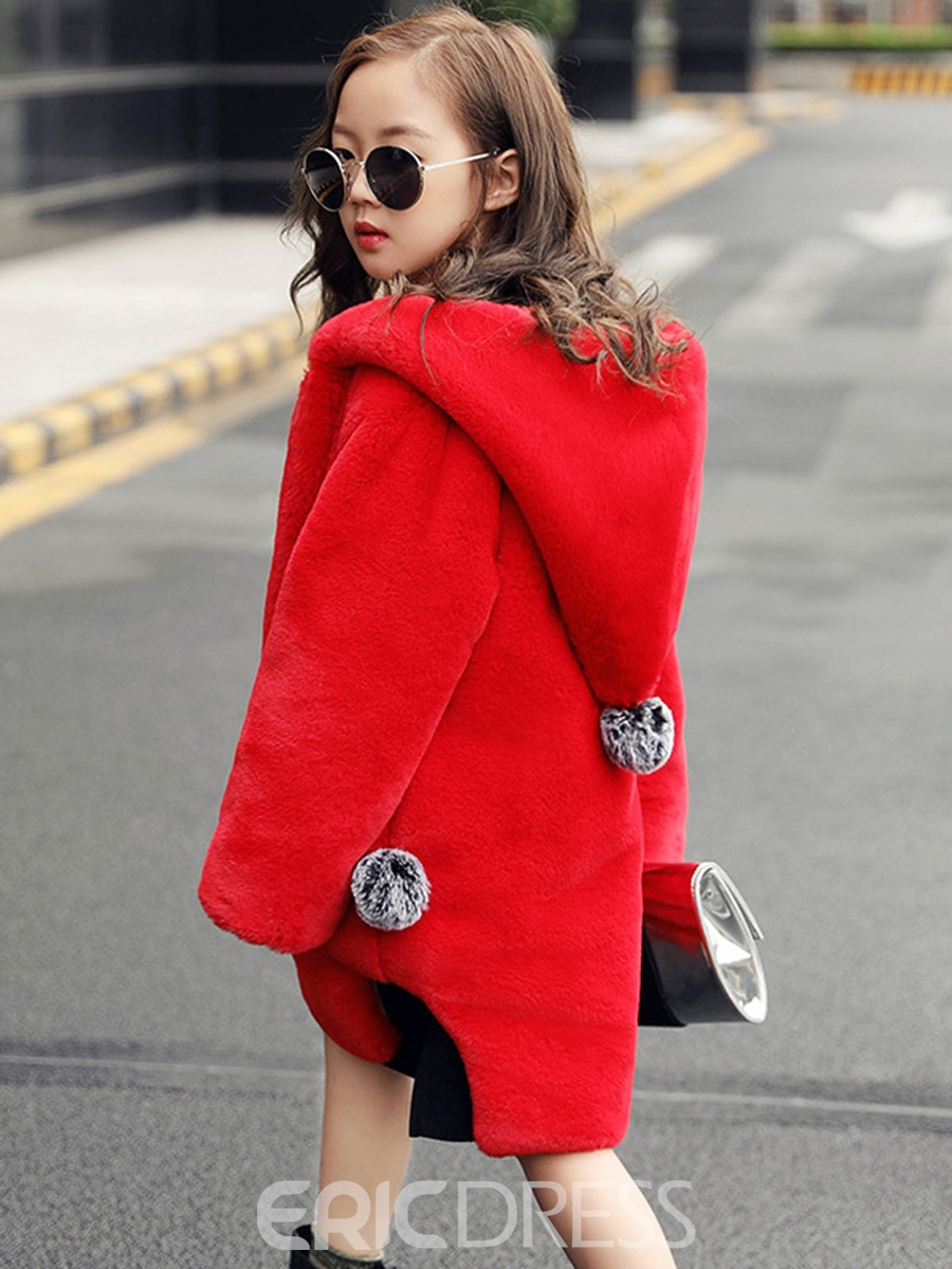 Ericdress Plain Hooded Long Sleeve Girl's Coat