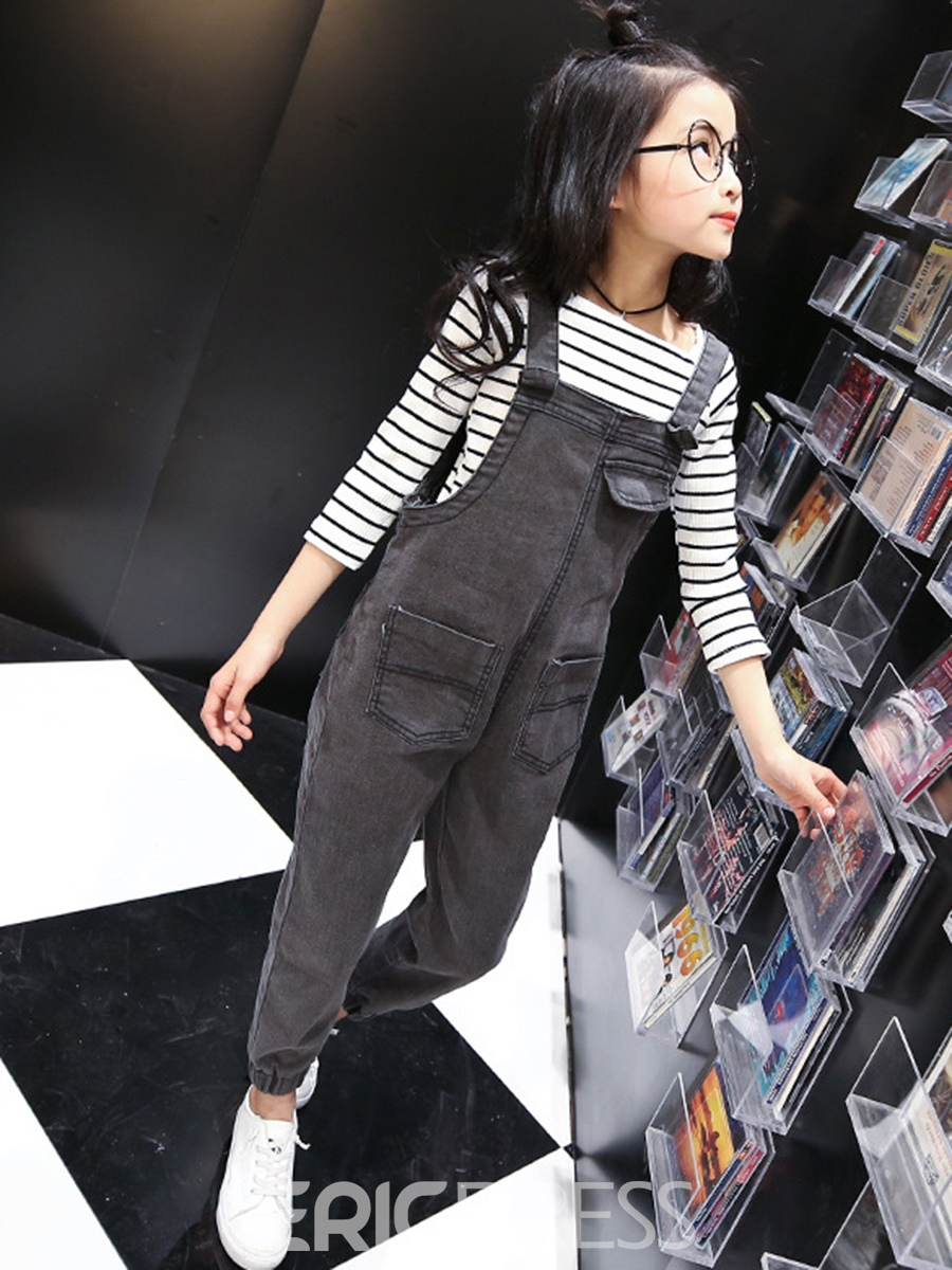 Ericdress Slim Plain Patchwork Girl's Casual Suspenders Trousers Pants