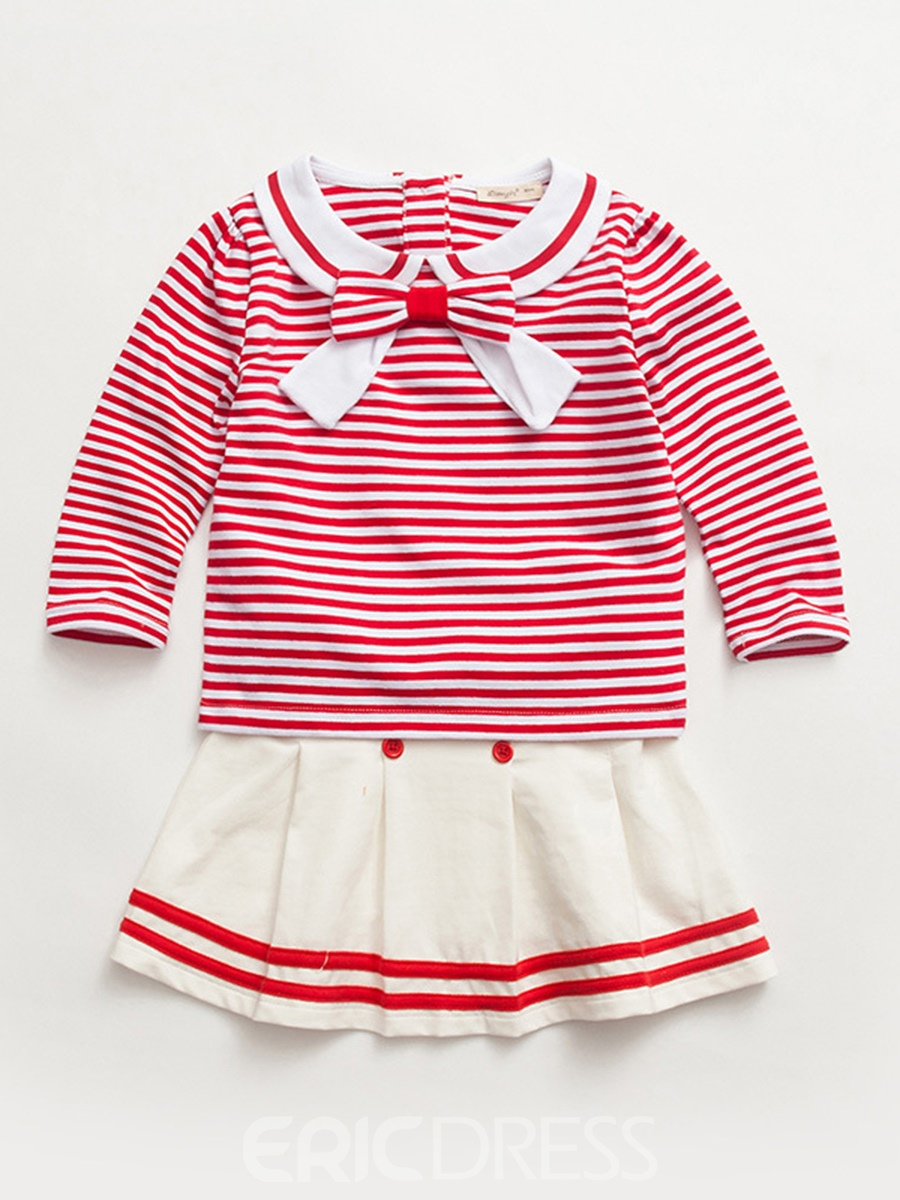 Ericdress Stripe Bowknot T-Shirt with Skirt Baby Girls' Outfit