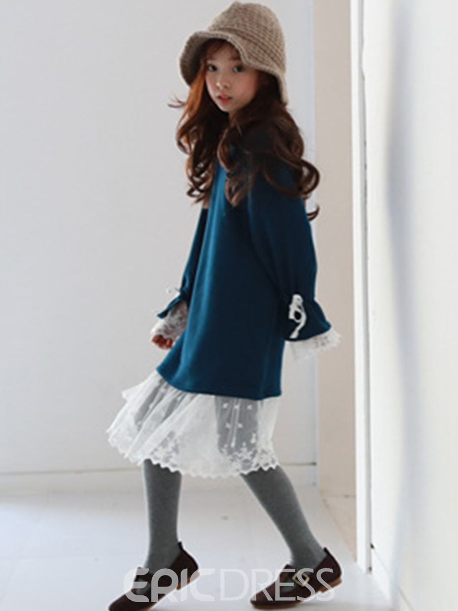 Ericdress Round Neck Lace Patchwork Thick Girl's Dress