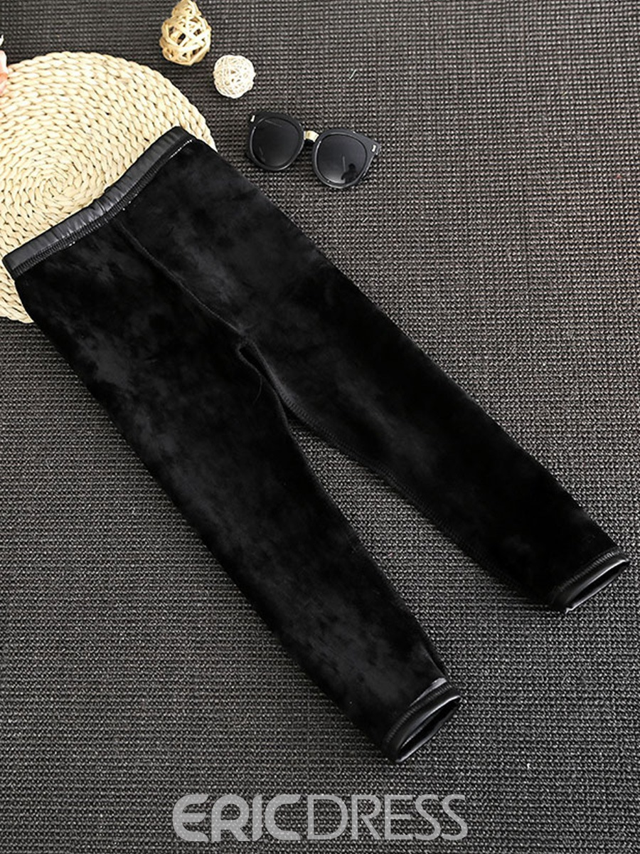 Ericdress Black Thicken Girl's PU Legging