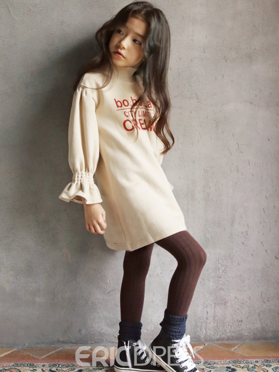 Ericdress Letter Print Turtleneck Flare Sleeve Girl's Dress