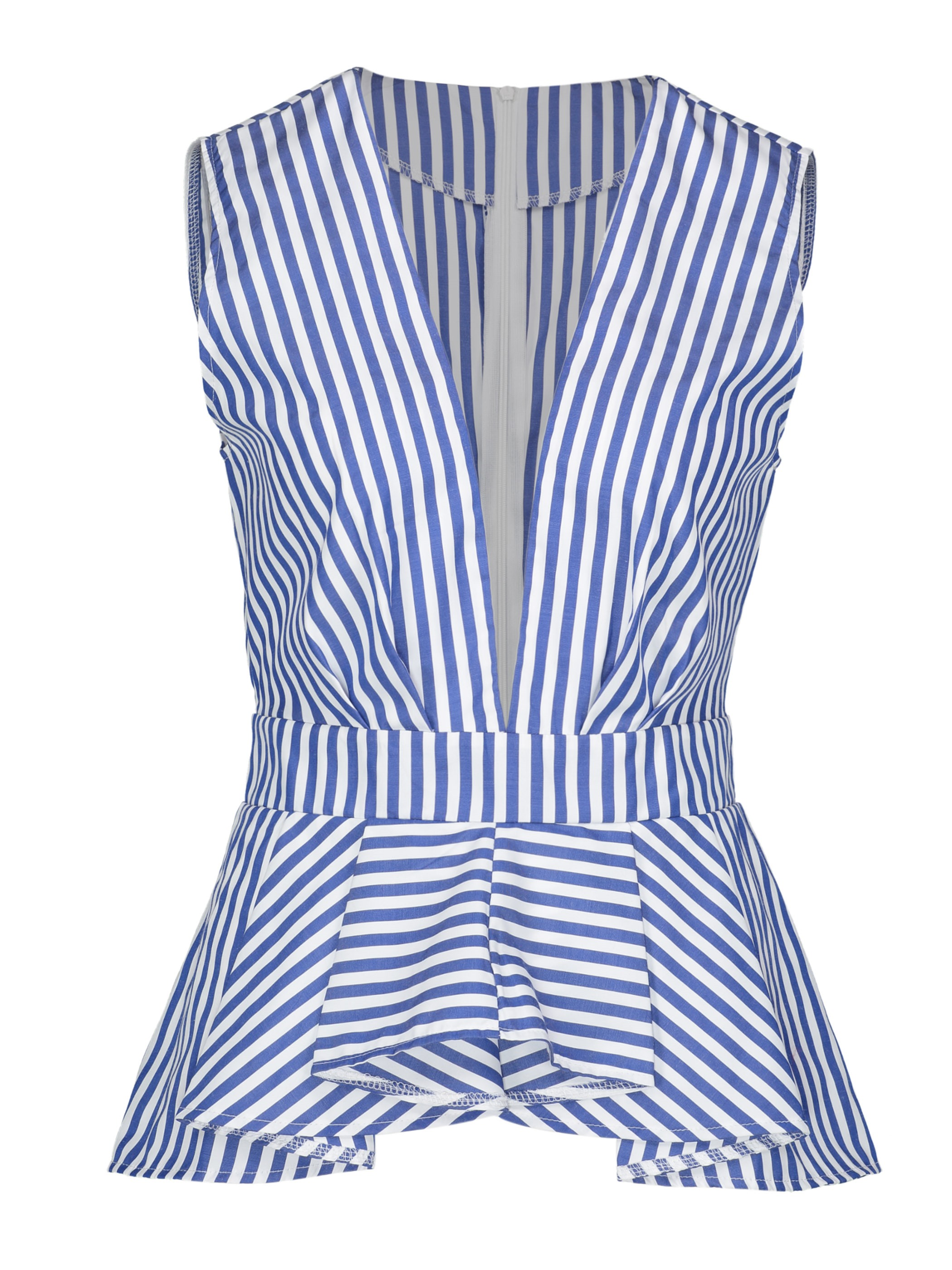 Ericdress V-Neck Stripe Ruffles Sleeveless Blouse