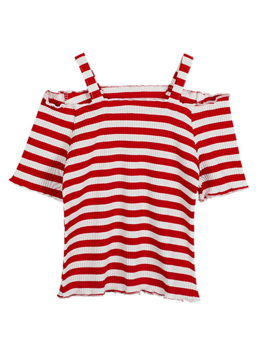 Ericdress Stripe Short Sleeve Off-The-Shoulder Girl's T-Shirt