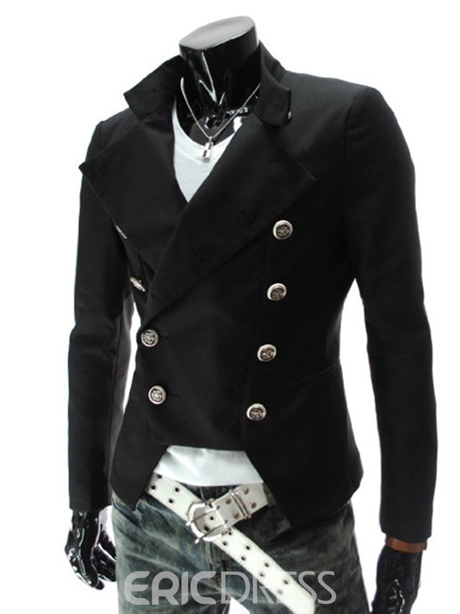 Ericdress Double-Breasted Slim Men's Coat