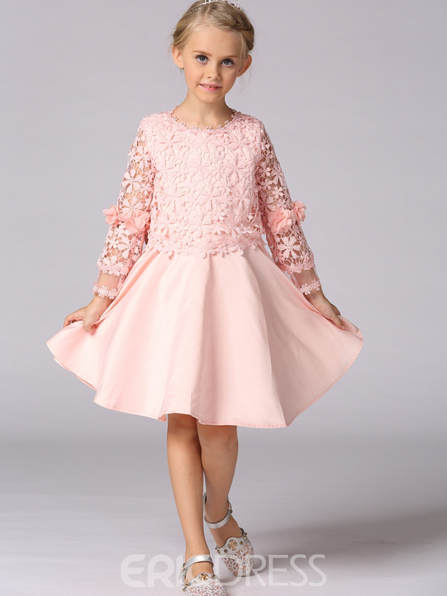 Ericdress Floral Lace Patchwork Bowknot Girl's A Line Dress