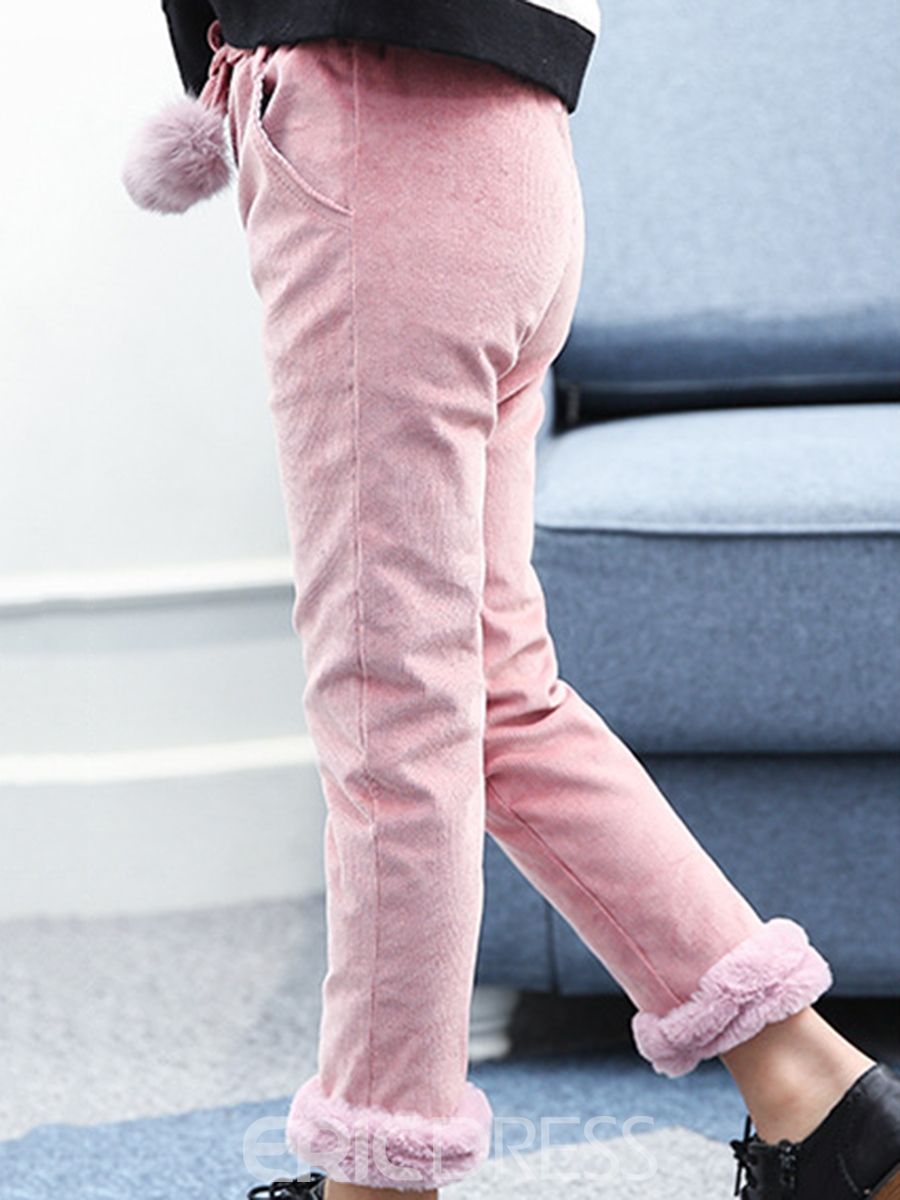 Ericdress Corduroy Fleece Girl's Winter Pants