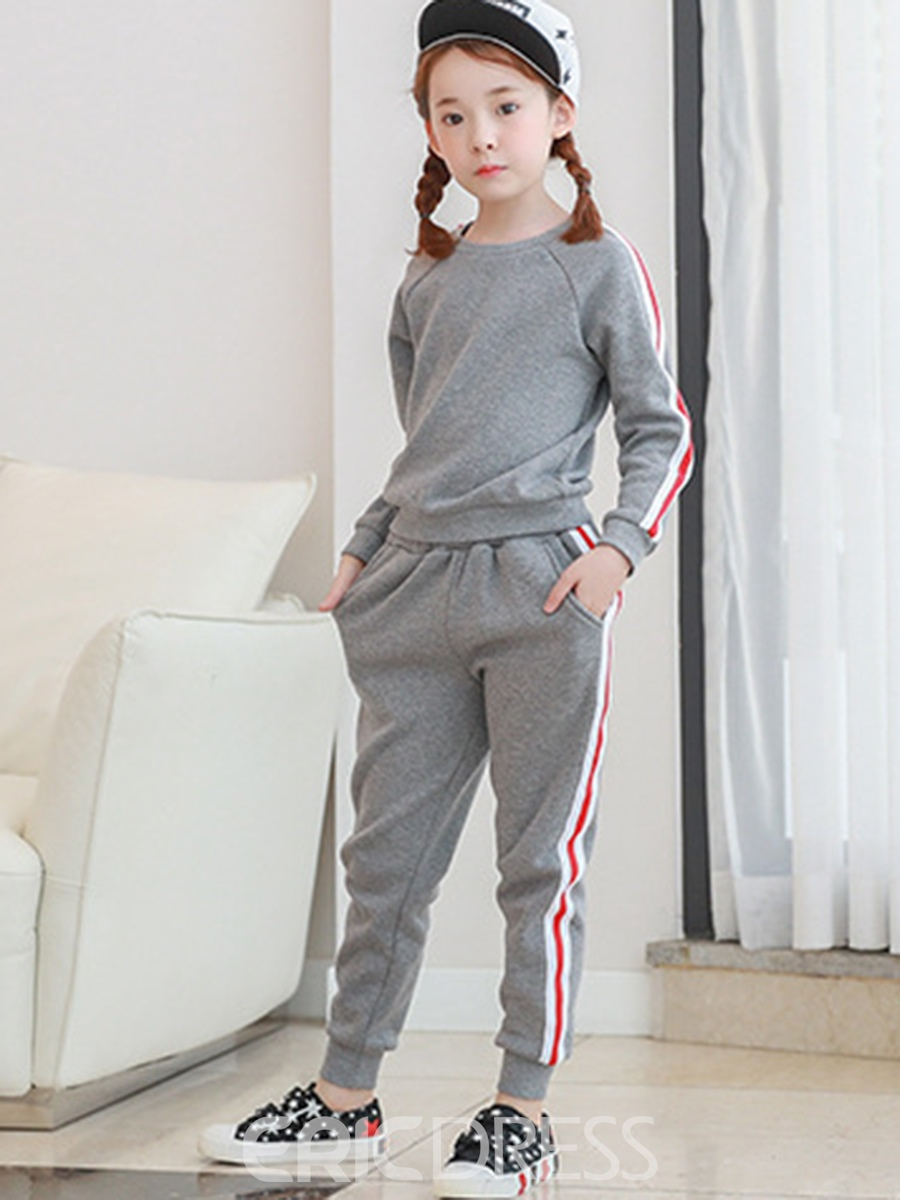 Ericdress Sport Casual Thicken Stripe Girl's Outfit
