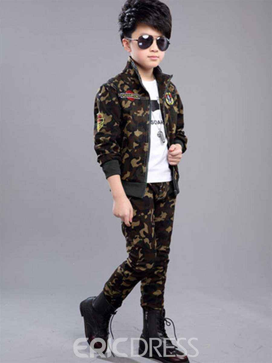 Ericdress Camouflage Zipper Unisex Kid's 2-Pcs Outfit
