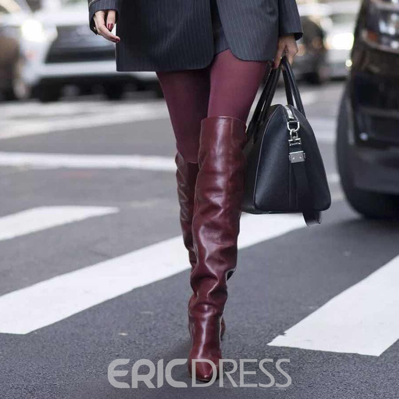 Ericdress Plain Slip-On Pointed Toe Thigh High Boots