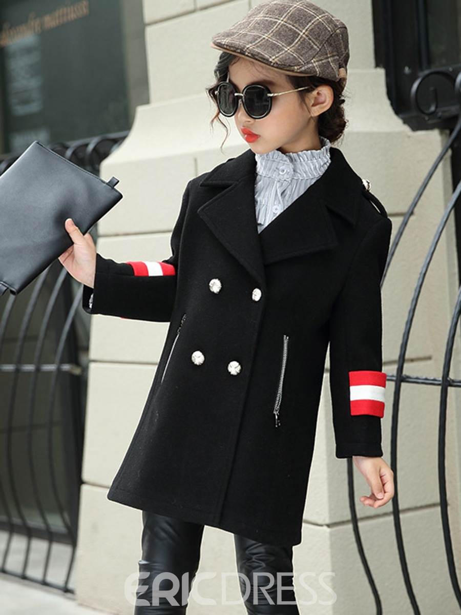 Ericdress Notched Lapel Double-breasted Girls' Overcoat