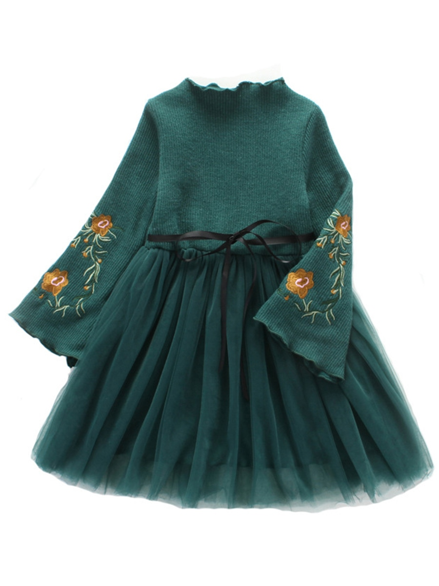 Ericdress Embroidery Mesh Patchwork Flare Sleeve Thick Girl's Dress