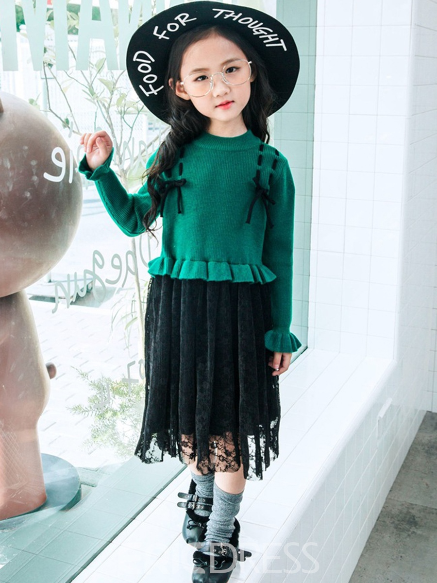 Ericdress Flare Sleeve Mesh Patchwork Girl's Dress