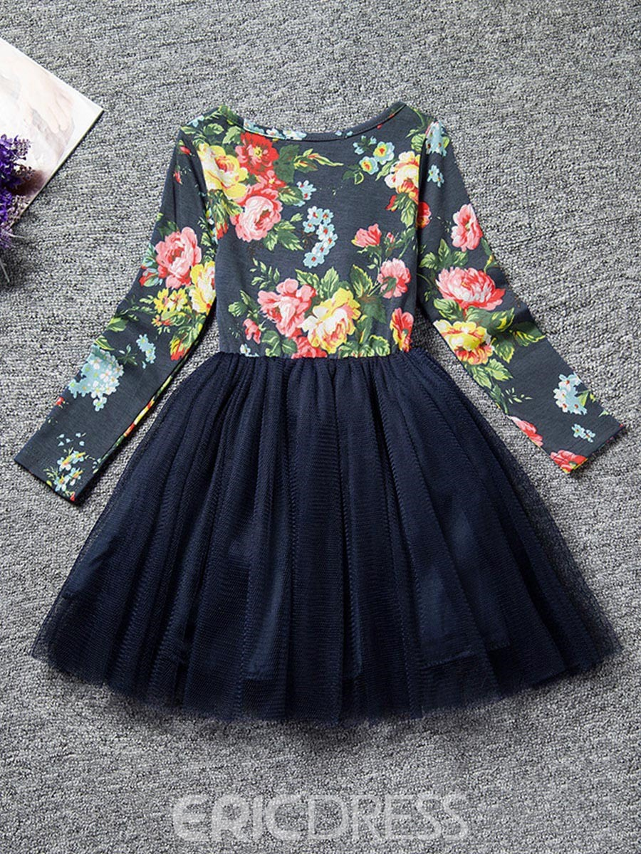 Ericdress Flower Print Bowknot Mesh Patchwork Princess Dress