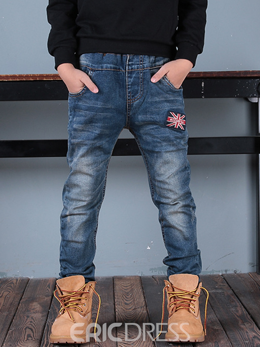 Ericdress American Flag Patchwork Thicken Boy's Jeans