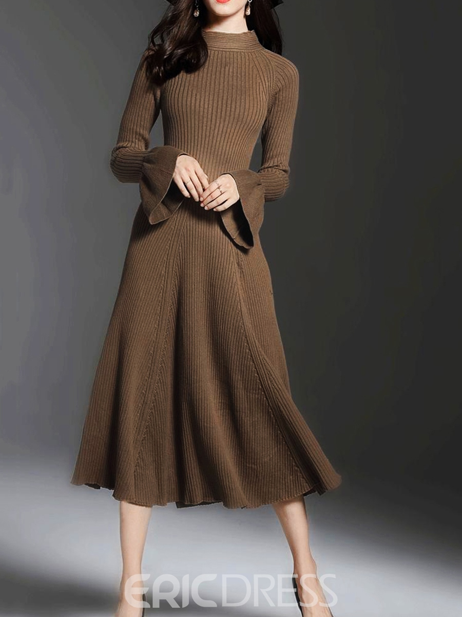 Ericdress Stand Collar Ruffled Sleeves Thread Expansion Sweater Dress