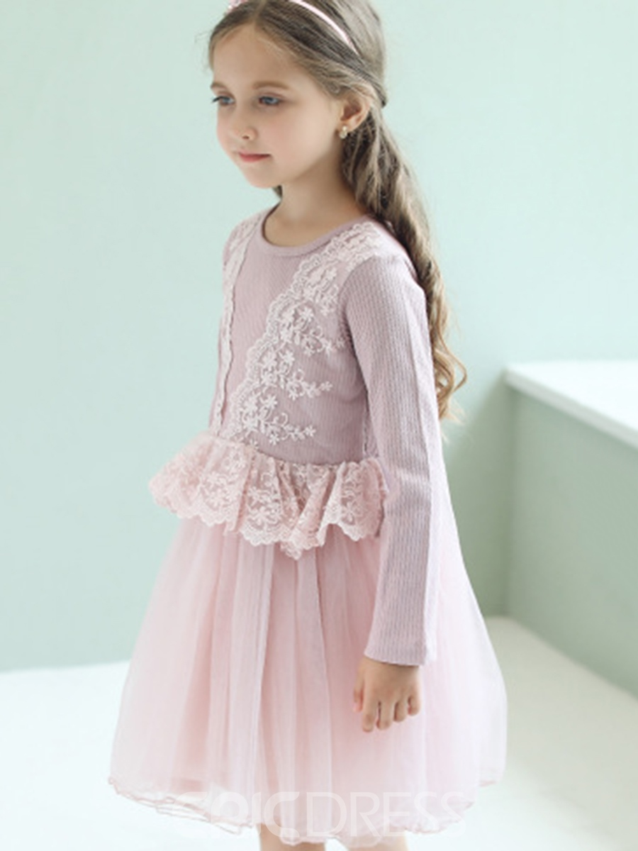 Ericdress Pink Lace Patchwork Pleated Mesh Girl's Dress