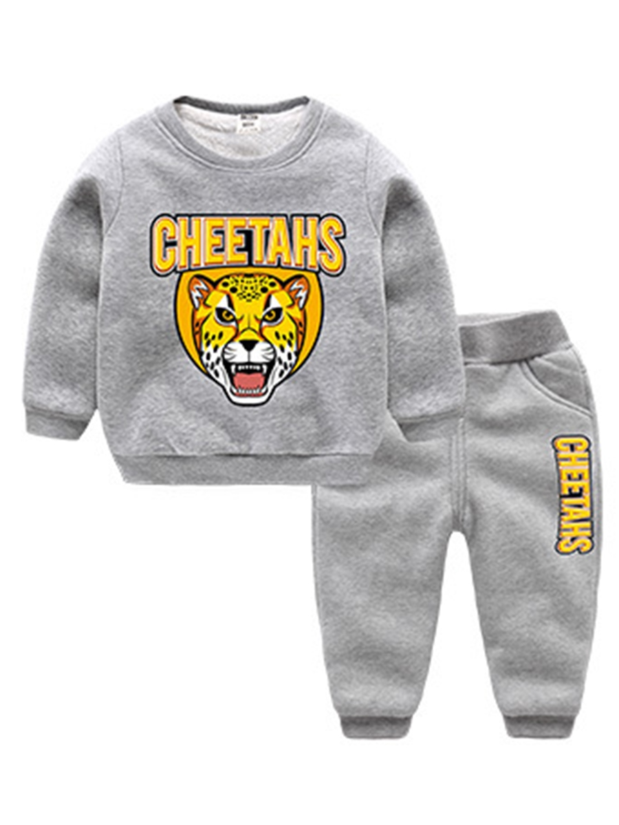 Ericdress Tiger & Letter Print Thicken Boy's 2-Pcs Outfit