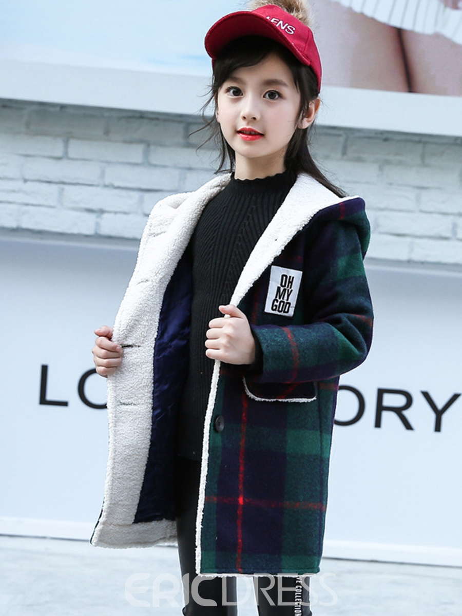Ericdress Lambswool Plaid Hooded Girls' Overcoat