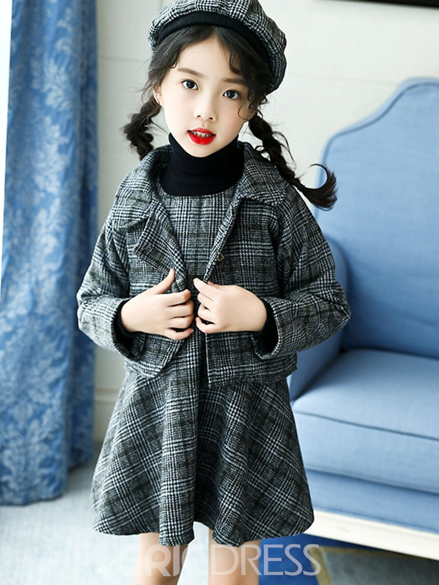 Ericdress Plaid Overcoat with A-line Dress Girls' Outfit