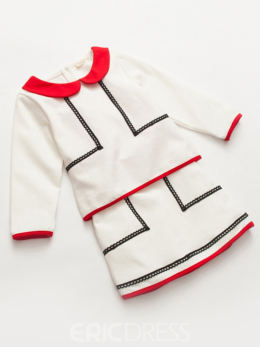 Ericdress Color Block Pullover T-Shirt with Skirt Girls' Outfit
