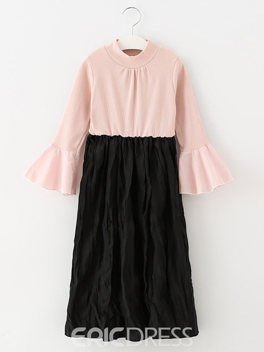 EricdressColor Block Flare Sleeve Pleated Girl's Dress
