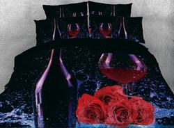 Vivilinen 3D Grape Wine with Red Roses 4-Piece Bedding Sets/Duvet Covers