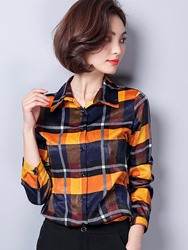 Ericdress Lapel Plaid Single-Breasted Blouse