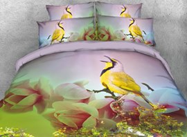 Vivilinen 3D Yellow Bird with Flowers Printed 4-Piece Bedding Sets/Duvet Covers