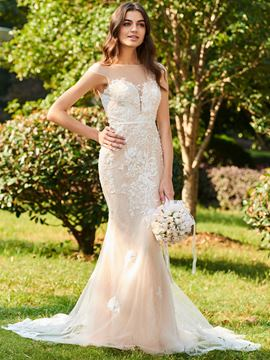 Ericdress Cap Sleeve Mermaid Appliques Wedding Dress
