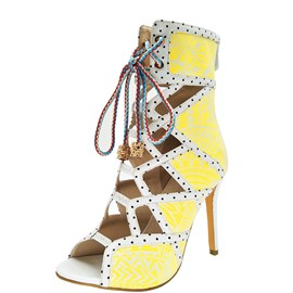 Ericdress Yellow Cross Strap Print High Heel Boots