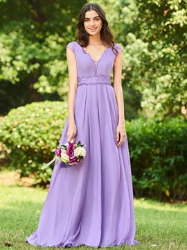 Ericdress V-Neck A-Line Long Bridesmaid Dress