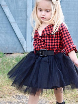 Ericdress Plaid Mesh Patchwork Belt Girl's Dress