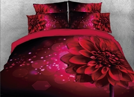 Vivilinen 3D Sparkle Red Daisy Printed 4-Piece Bedding Sets/Duvet Covers