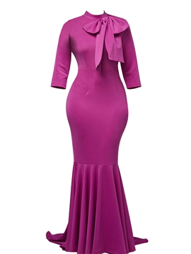 Ericdress Purple 3/4 Sleeve Bow Bodycon Maxi Dress