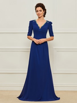 Ericdress V-Neck Half Sleeves A Line Mother of the Bride Dress