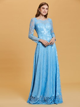 Scoop Neck Long Sleeves A Line Lace Evening Dress
