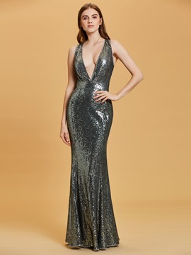 Ericdress V Neck Criss-Cross Straps Sequins Sheath Evening Dress